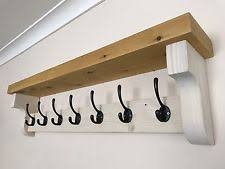 New Handmade Coat Hook Rack With Shelf Rustic Wooden Vintage Style