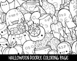 Halloween Doodle Coloring Page Printable Cute For Kids And Adults