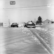 Pickup Trucks In Snow Drifts At Norton Commons, Norton, Kansas ...