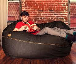 jaxx bean bag chair 5 5 ft denim bean bag loveseat lounger