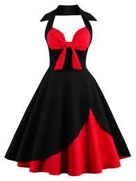 two tone halter vintage dress in red with black l sammydress com