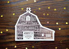 Rustic Etched Wood Barn Save The Dates Shauna