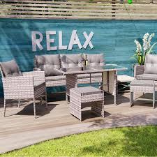 poly rattan sitzgruppe esstisch lounge gartenmöbel sitzgarnitur garten garnitur set 1x tisch 2x stühle 1x sitzbank 2x hocker grau