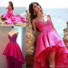 pink lace beaded high low prom dresses 2017 sweetheart tulle