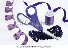 Purple sewing supplies Purple sewing tools on white stock