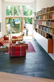 Modern Living Room With Textured Black Slate Tile Floor