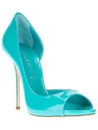 casadei open toe pump in blue lyst
