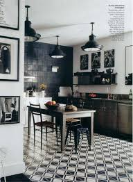 black white kitchen floor tile in a classic black and white