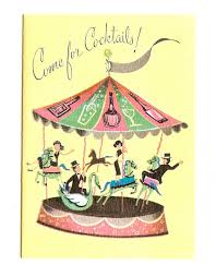 Vintage UNUSED Cocktail Party Invite 1960s Alcohol Carousel W Env