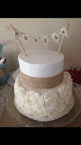 Burlap And Buttercream Baby Shower Cake