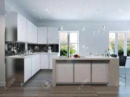 Modern White Kitchen Interior 3d Rendering Stockfoto Und Modern Design Kitchen Interior 3d Render