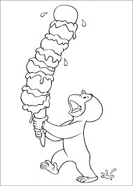 Curious George With Ice Cream Coloring Pages