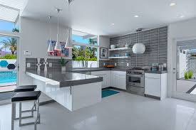 modern kitchen using white and gray color combination with