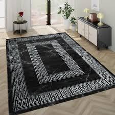 wohnzimmer teppich kurzflor mit marmor optik und bordüre in grau schwarz grösse 200x290 cm