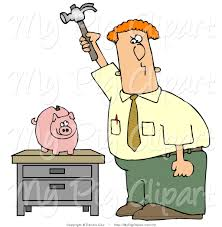 Swine Clipart of a Red Haired Caucasian Businessman Holding a Hammer High a Piggy Bank