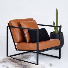 100 Dora High Chair Black Metal Frame And Tan Leather Armchair Designer Accent S