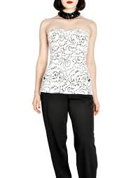 chanel vintage black u0026 white graphic silk bustier top from