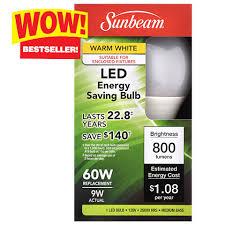 bulk sunbeam warm white 9 watt medium base led light bulbs at