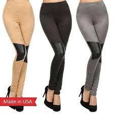 suede leather insert high waist black grey leggings tights