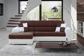 canapé droit design canapé d angle madrid ii cuir pu et microfibre chocolat et