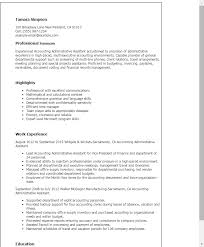 Resume Templates Accounting Administrative Assistant