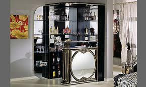 eckbar theke wohnzimmer bar spiegel front hochglanz schwarz