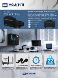 Cpu Holder Under Desk Mount Small by Amazon Com Mount It Heavy Duty Cpu Wall Mount Bracket Size