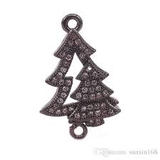 Copper Micro Pave Clear CZ Christmas Tree Connector For Bracelets MakingGold RoseGold Silver Black