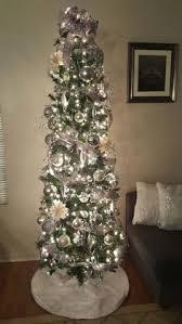White And Silver Slim Christmas Tree