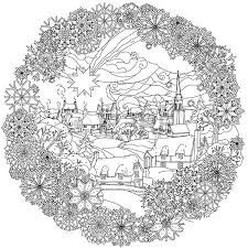 Christmas Landskape With Star Flies Over Winter Village In Frame Of Snowflakes Black And