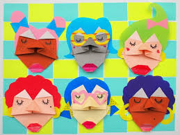 Kids Art Craft Fold Origami Faces Step By Tutorial