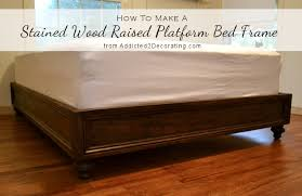 Wood Platform Bed Frame Queen by Diy Stained Wood Raised Platform Bed Frame U2013 Finished