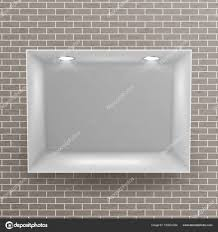 Empty Niche Vector Realistic Brick Wall Clean Shelf Showcase Show Window