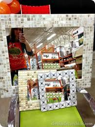 Mosaic Bathroom Mirror Diy by Best 25 Tile Around Mirror Ideas On Pinterest Tropical Bathroom