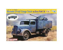 100 4x2 Truck Dragon Models 6828 135 German 3t W2cm FlaK 38 Smart Kit