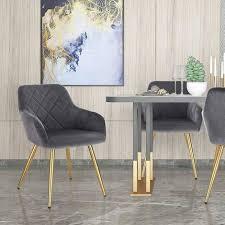esszimmerstuhl aus samt goldene beine modell pervin dunkelgrau