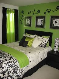 White And Black Bedding by Bold Green Bedroom Wall Paint With Enchanting Three Wall Artwork