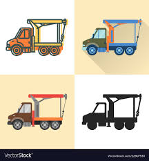 Boom Crane Truck Icon Set In Flat And Line Styles Vector Image