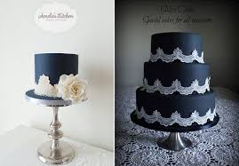 black iced cakes with lace by Amelie s Kitchen and Sally s Cakes