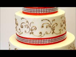 Cake Decoration Ideas With Gems by Three Tier Wedding Cake With Gold And Orange Ribbon Wedding Cake