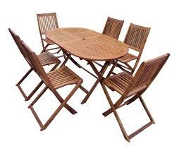 Folding Wooden Patio 6 Seater Set