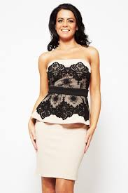 black lace strapless peplum dress best dressed