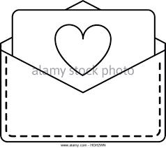 love heart envelope mail valentine letter line Stock Image