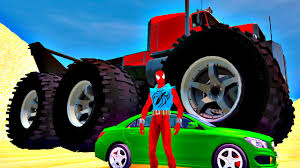 100 Biggest Monster Truck Smash 30 Mercedes Benz Spiderman Superhero Fun