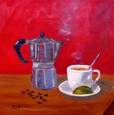 Cuban Coffee Beans And Lime Painting By Maria Soto Robbins