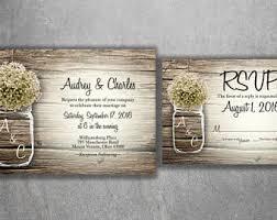 Mason Jar Wedding Invitation Rustic Invitations Babys Breath Country