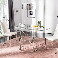 Shop Safavieh Couture Ren Chrome Round Glass Top Dining Table