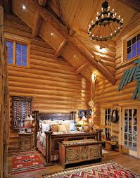 Regal Rustic Bedroom Decors View With Log Wooden Wall Panel Also Mahogany Bed As Well High Ceiling Country