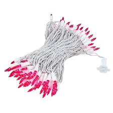 white lights with pink wire tree cord for