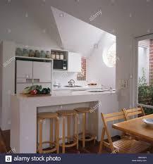 Kicthen Storage Dining Kitchen Breakfast Bar Wooden Stools In Recessed Space